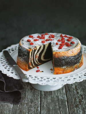Steamed chocolate and strawberry zebra cake