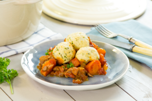Beef stew with herb dumplings