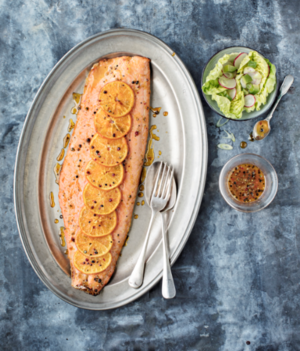 Festive salmon with clementines