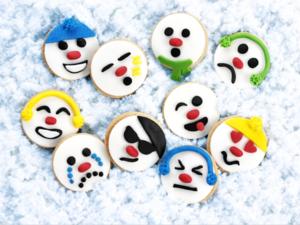 Snowman emoji biscuits