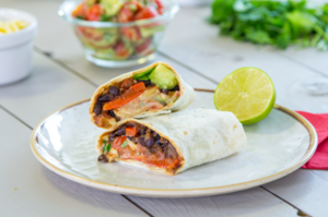 Spicy black bean fajitas with avocado salsa