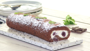 Chocolate cherry roulade